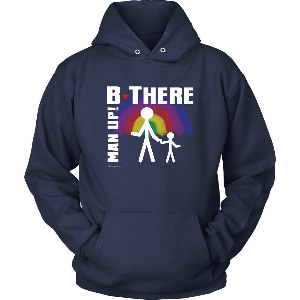 Man Up! B There Man With Child Under Rainbow Men's Navy Hoodie - ManUp!Series