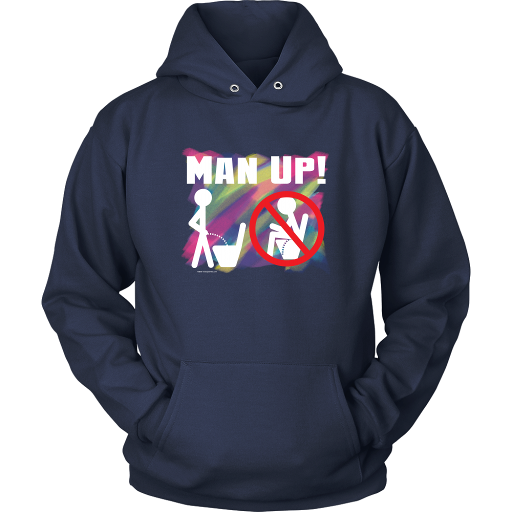 Man Up! Man Peeing Standing Not Sitting Over Brushstrokes Men's Navy Hoodie - ManUp!Series