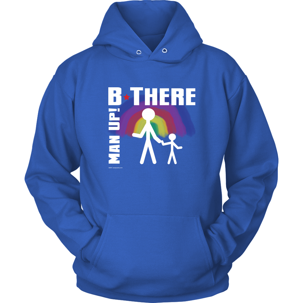 Man Up! B There Man With Child Under Rainbow Men's Blue Hoodie - ManUp!Series