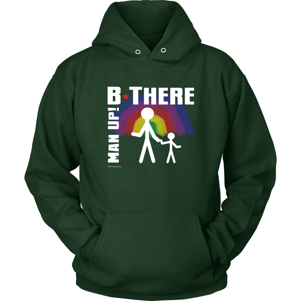 Man Up! B There Man With Child Under Rainbow Men's Green Hoodie - ManUp!Series