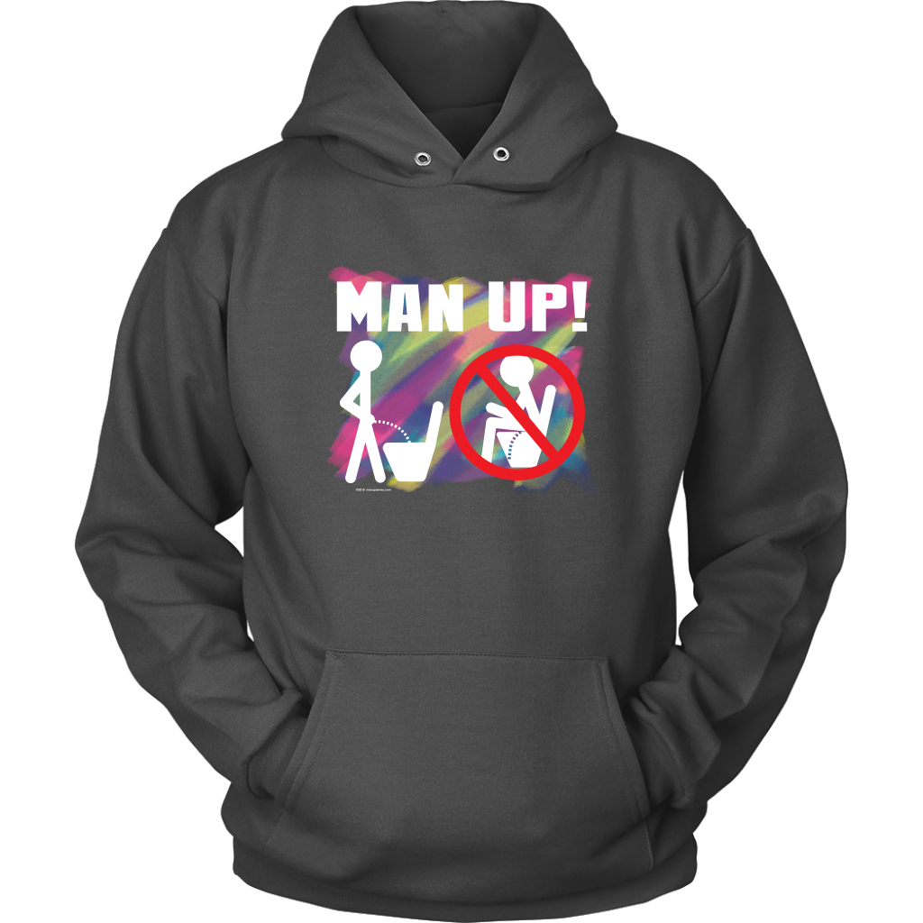 Man Up! Man Peeing Standing Not Sitting Over Brushstrokes Men's Charcoal Hoodie - ManUp!Series