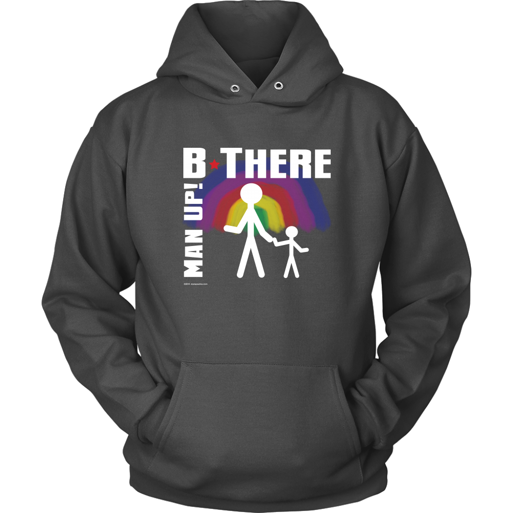 Man Up! B There Man With Child Under Rainbow Men's Charcoal Hoodie - ManUp!Series