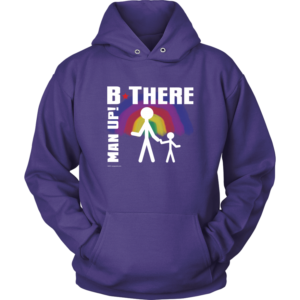 Man Up! B There Man With Child Under Rainbow Men's Purple Hoodie - ManUp!Series
