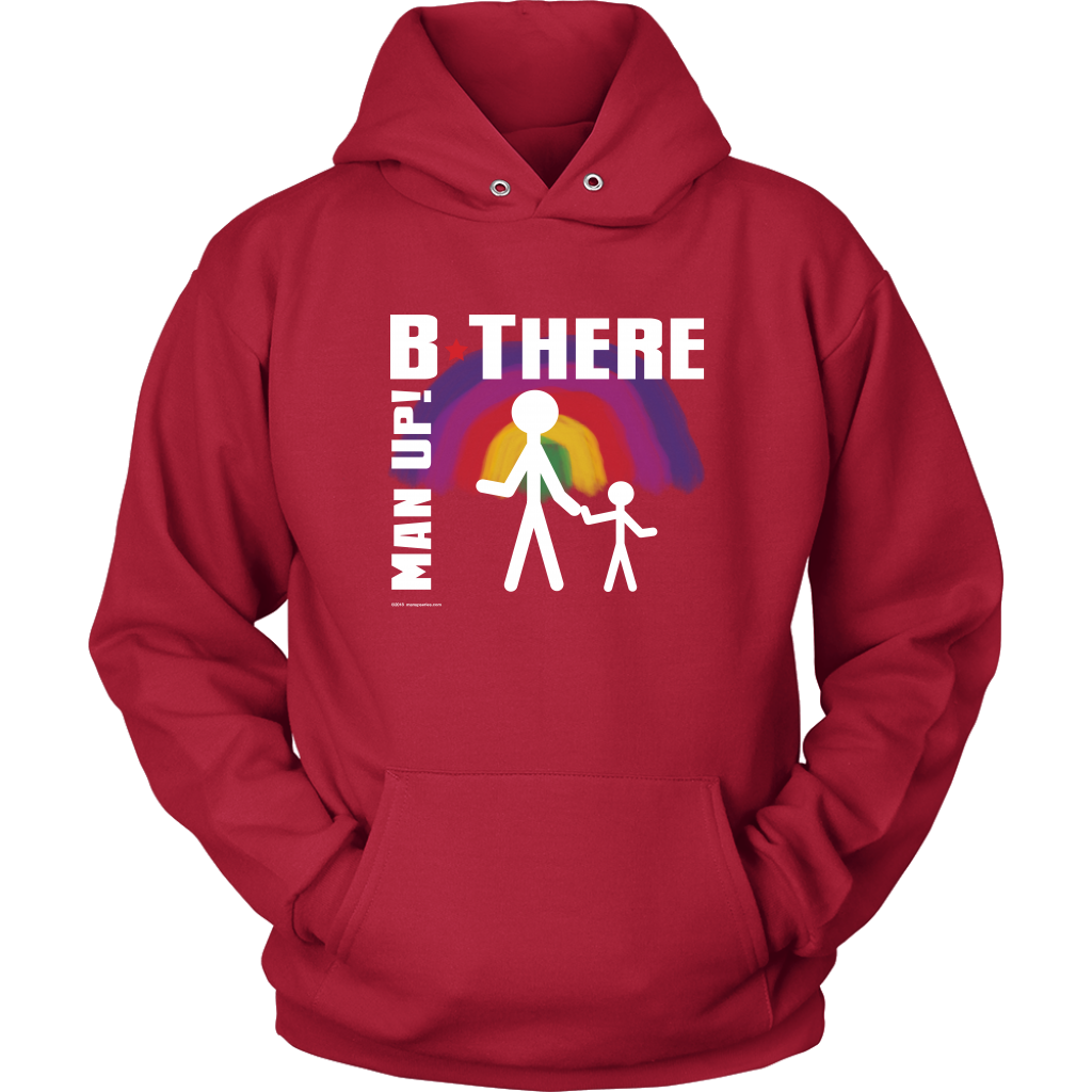 Man Up! B There Man With Child Under Rainbow Men's Red Hoodie - ManUp!Series