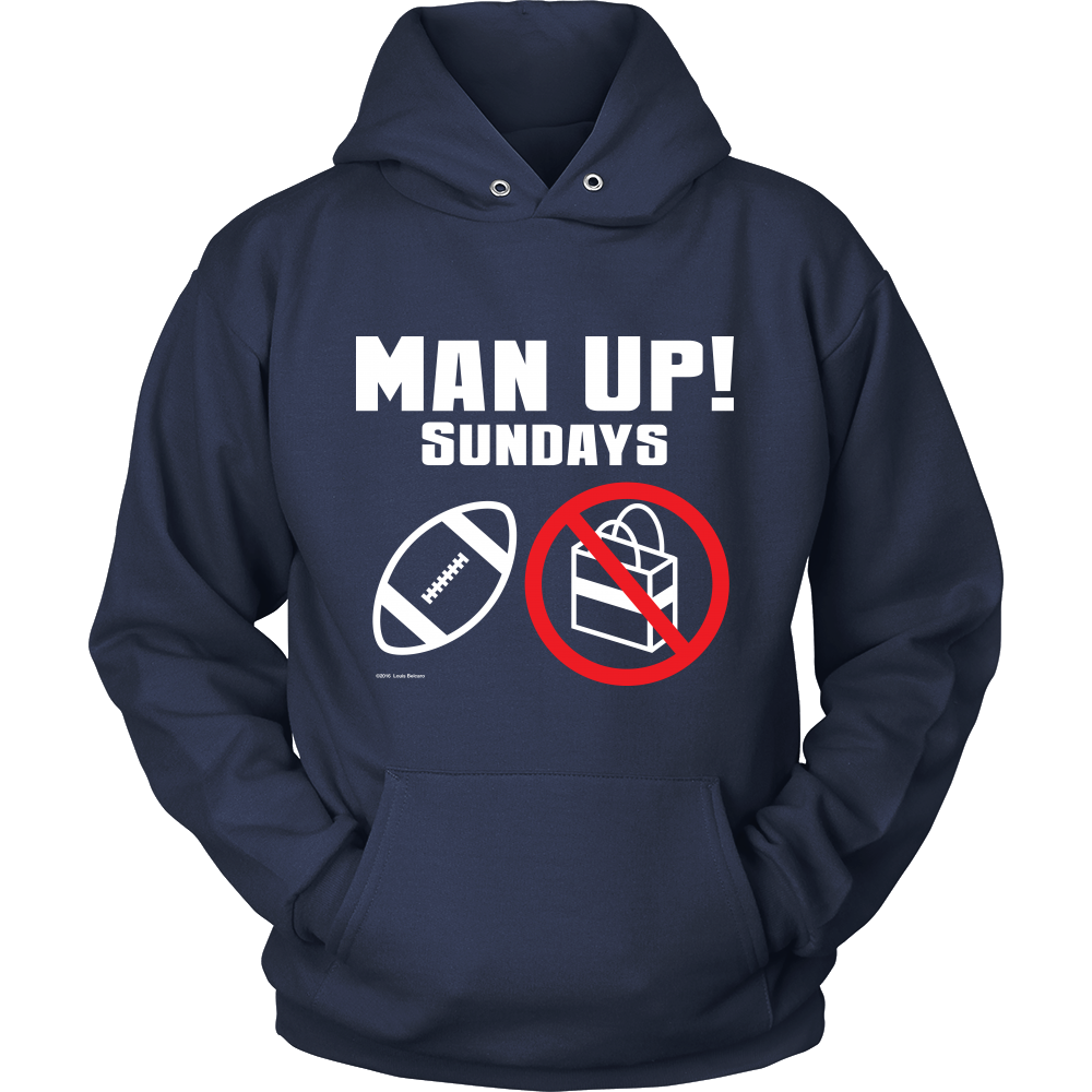 Man Up! Sundays Football, Not Shopping Men's Navy Hoodie - ManUp!Series