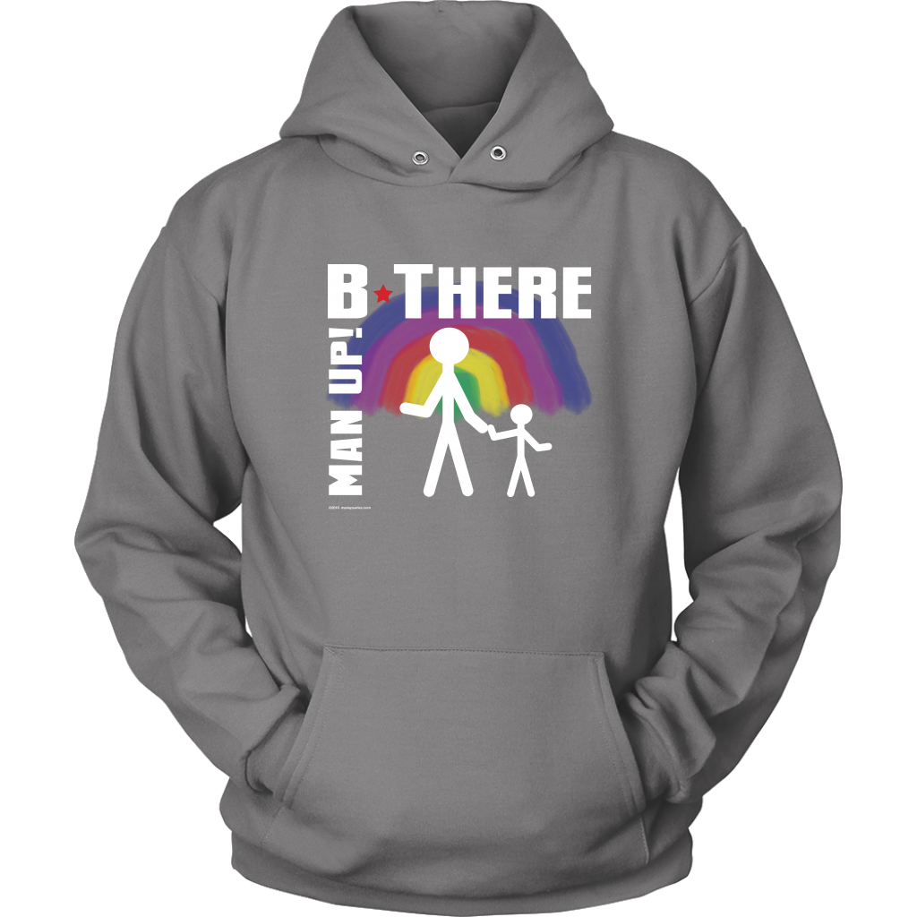 Man Up! B There Man With Child Under Rainbow Men's Grey Hoodie - ManUp!Series