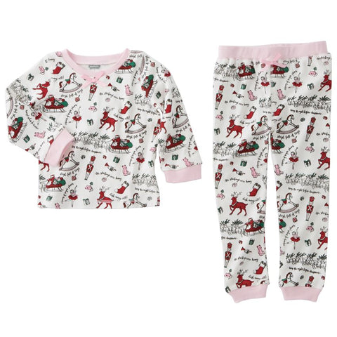 Very Merry Pink Trim Pajama Set 24M-2T
