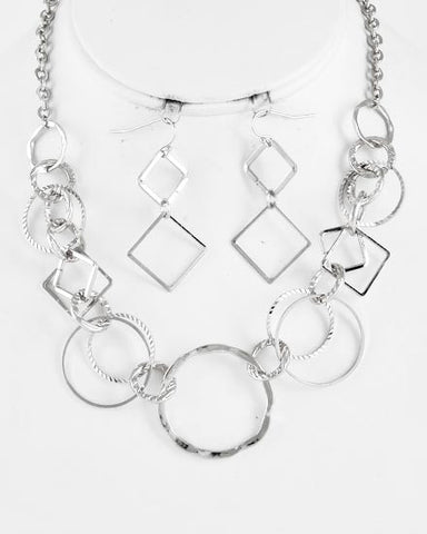 Silver Circle and Square Necklace Set