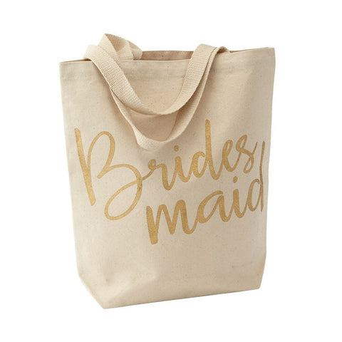 Bridesmaids Canvas Tote Bag in Gold
