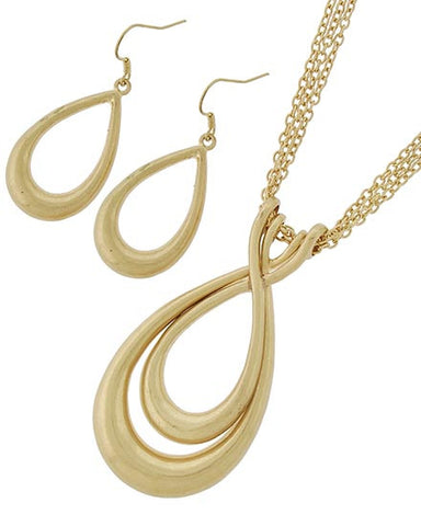 Matte Gold Pendant Necklace Set