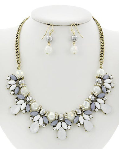White Acrylic & White Opal Necklace Set
