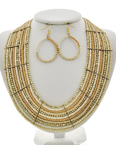 Ivory Seed Bead Necklace Set