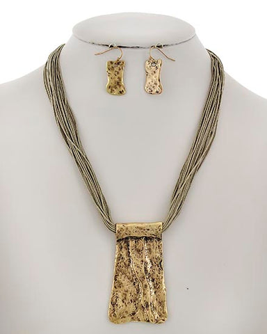 Gold and Taupe Pendant Necklace Set