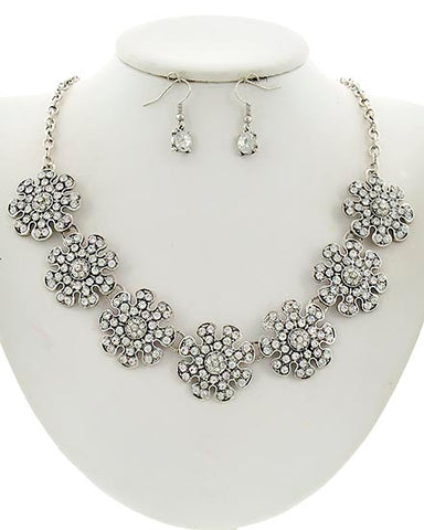 Flower Burnished Silver Necklace Set