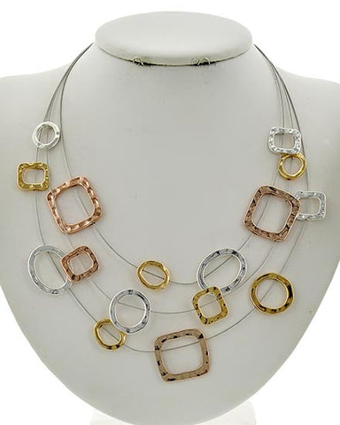 Tri Tone Necklace and Earring Set