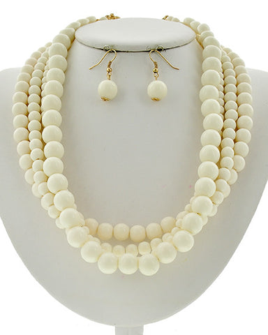 Ivory Bead Necklace Set
