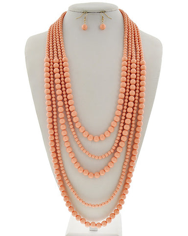 Peach Acrylic Necklace Set