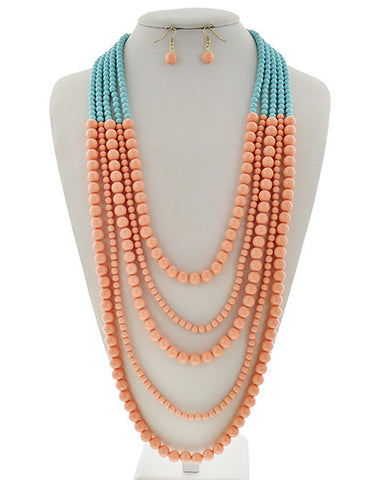 Light Blue & Peach Acrylic Necklace Set