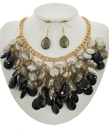 Black Charm Necklace and Earring Set