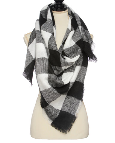 White and Black Gingham Scarf