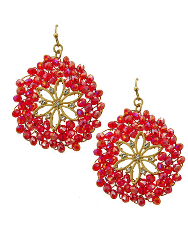 Red Glass Seed Bead Earring Set