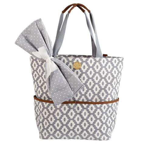 Grey Geo Dot Diaper Bag
