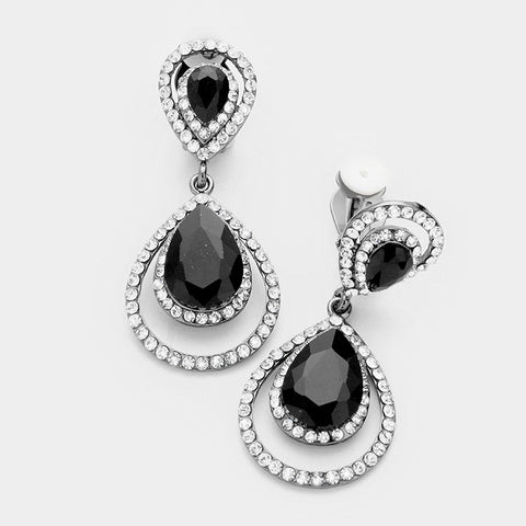 Black Teardrop Clip On Earrings