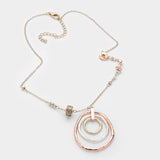 Tri Metal Hoop Pendant Necklace Set