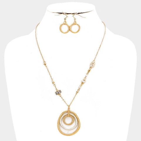 Gold and Silver Triple Hoop Necklace Set