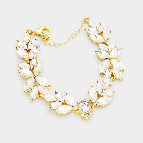 Gold Crystal Leaf Bracelet