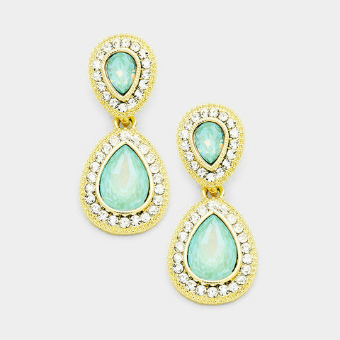 Pacific Opal Teardrop Evening Earrings