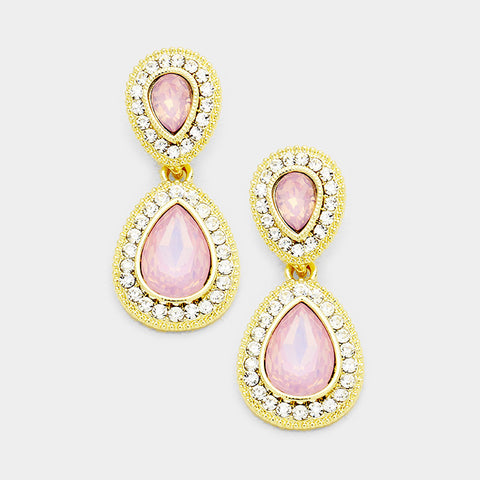 Pink Opal Teardrop Evening Earrings