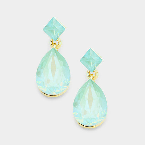 Pacific Opal Crystal Square Teadrop Earrings