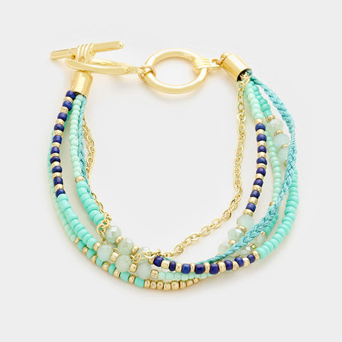 Mint Multi-Strand Toggle Bracelet