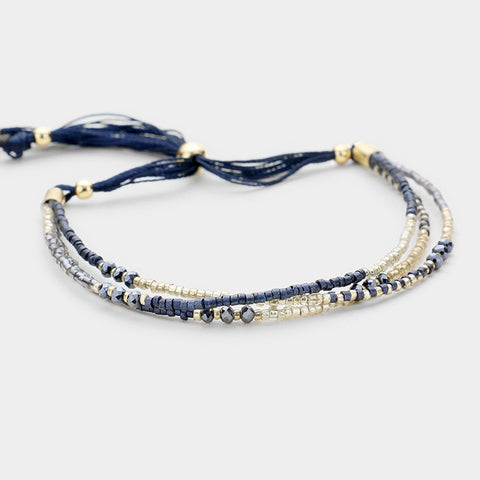 Navy Triple Strand Cinch Bracelet