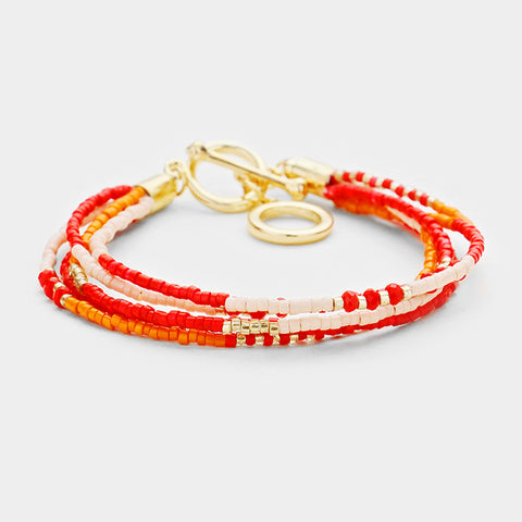 Gold, Orange and Red Bracelet