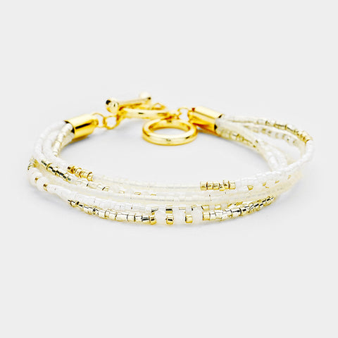White and Gold Toggle Bracelet