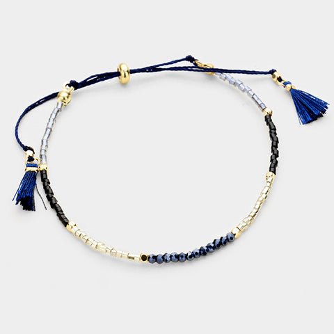Blue Two Tone Tassel Bracelet