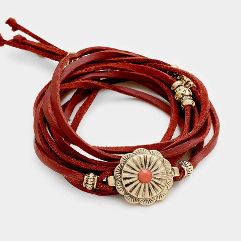Burgundy and Gold Wrap Bracelet
