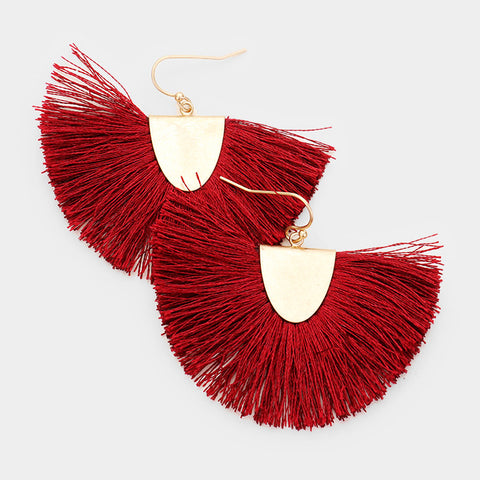 Burgundy Tassel Fringe Earrings