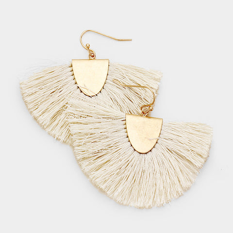 Ivory Tassel Fringe Earrings