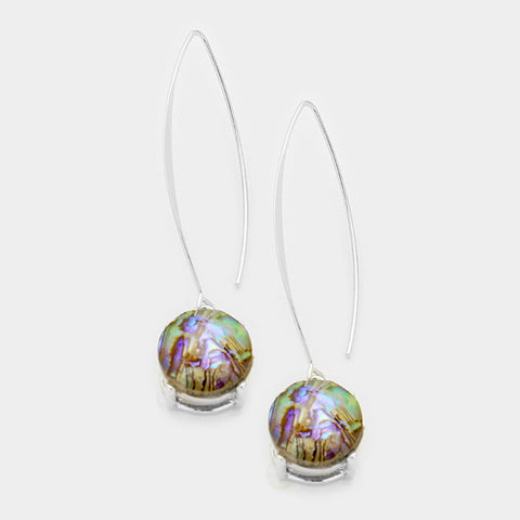 Round Abalone Drop Earrings