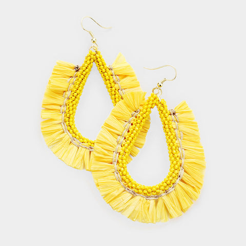Yellow Fringe Catch Earrings