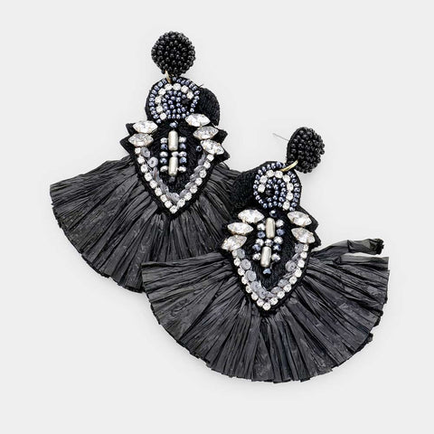 Black Tassel Earrings a