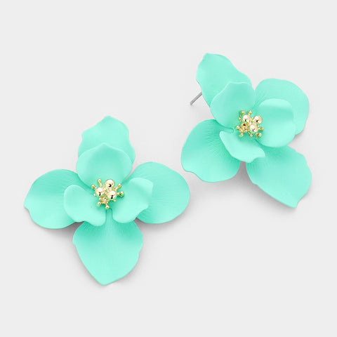 Mint Flower Post Earrings