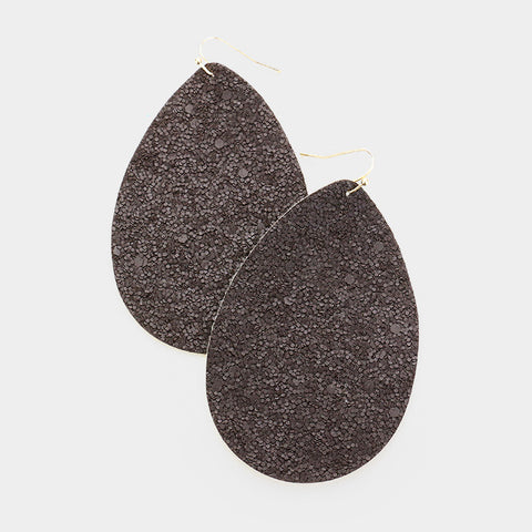 Black Glittering Leather Earrings