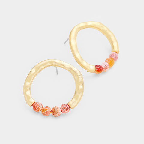 Red Hammered Hoop Earrings