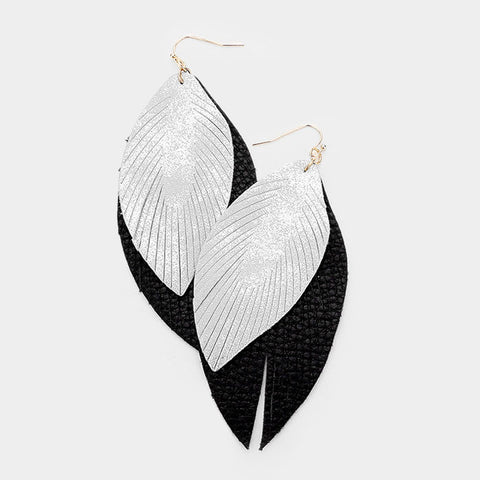 Layered Leather Leaf Earrings
