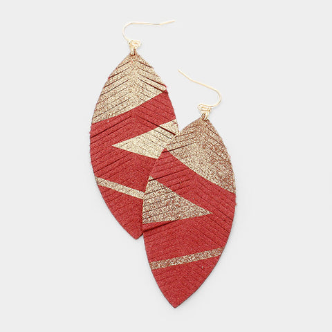 Burgundy Suede Leaf Earrings
