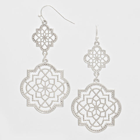Matte Silver Filigree Cutout Earrings